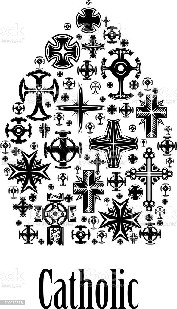 Catholic mitre icon of christianity cross elements vector art illustration
