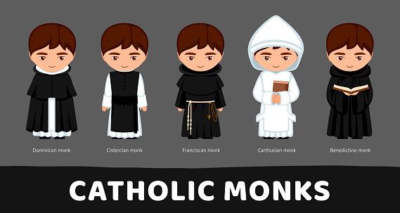 Catholic monks. Carthusians, Franciscans, Cistercians, Benedictines, Dominicans. Set of cartoon characters. Vector flat illustration.