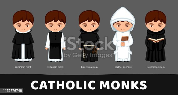 Catholic monks. Carthusians, Franciscans, Cistercians, Benedictines, Dominicans. Set of cartoon characters. Vector flat illustration.