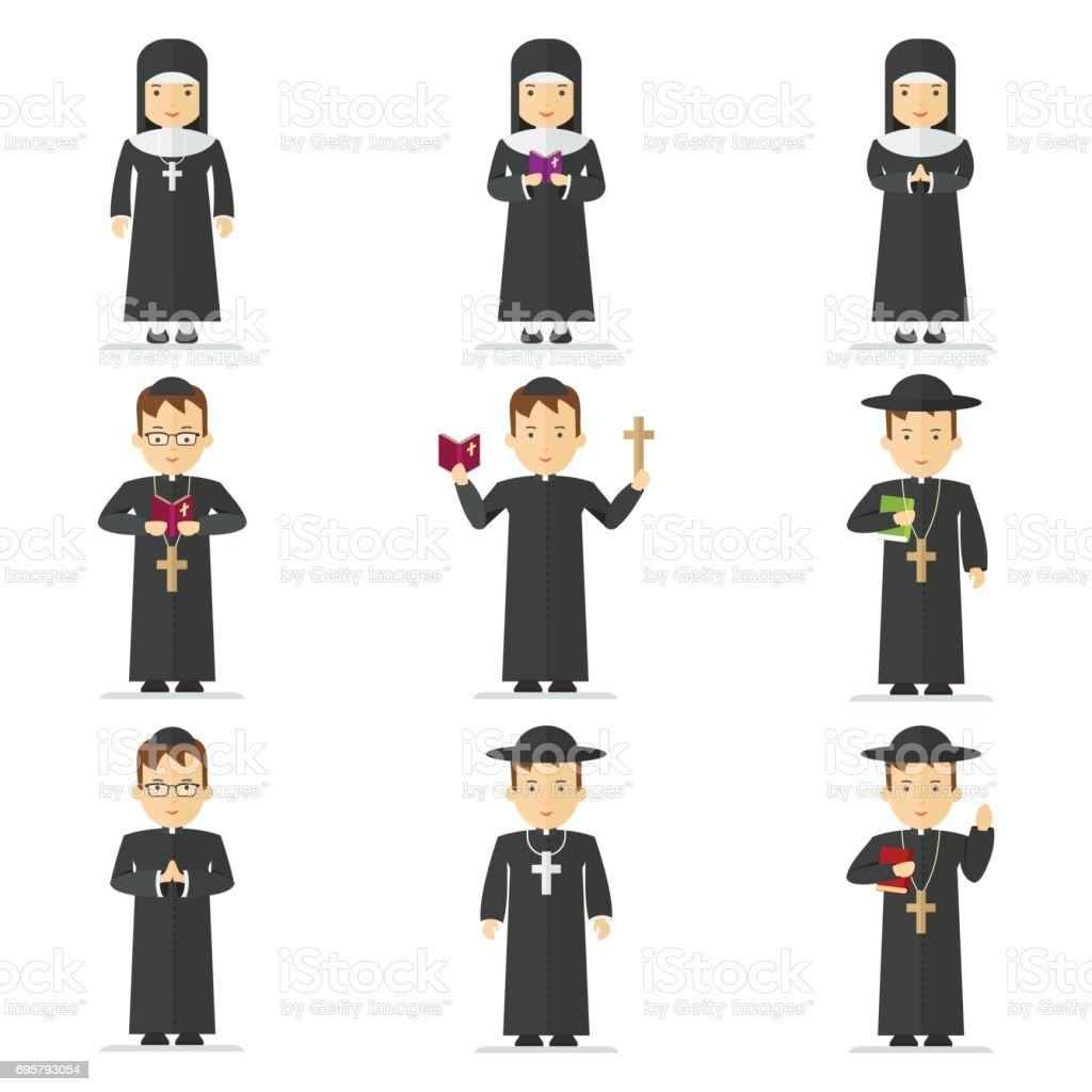 catholic pastor set vector art illustration