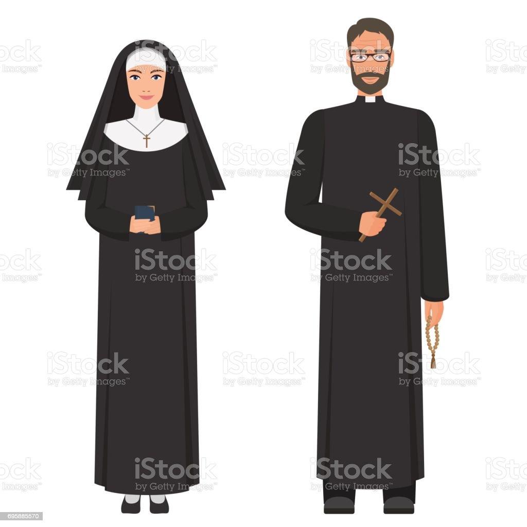 Sacerdote y monja. Ilustración de vector de dibujos animados plana. - ilustración de arte vectorial