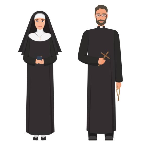 ilustraciones, imágenes clip art, dibujos animados e iconos de stock de sacerdote y monja. ilustración de vector de dibujos animados plana. - hermana