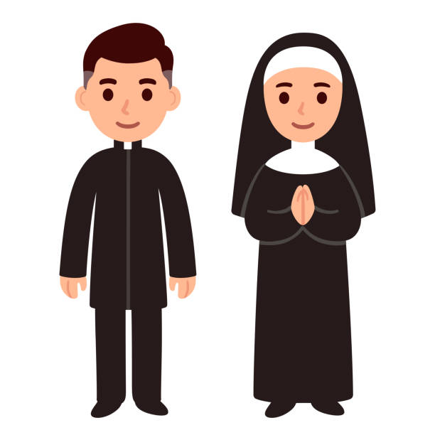 Catholic priest and nun Cute cartoon catholic priest and nun. Simple drawing of religious characters, vector illustration. clergy stock illustrations
