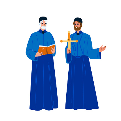 Catholic Priest Men With Praying Cross Vector