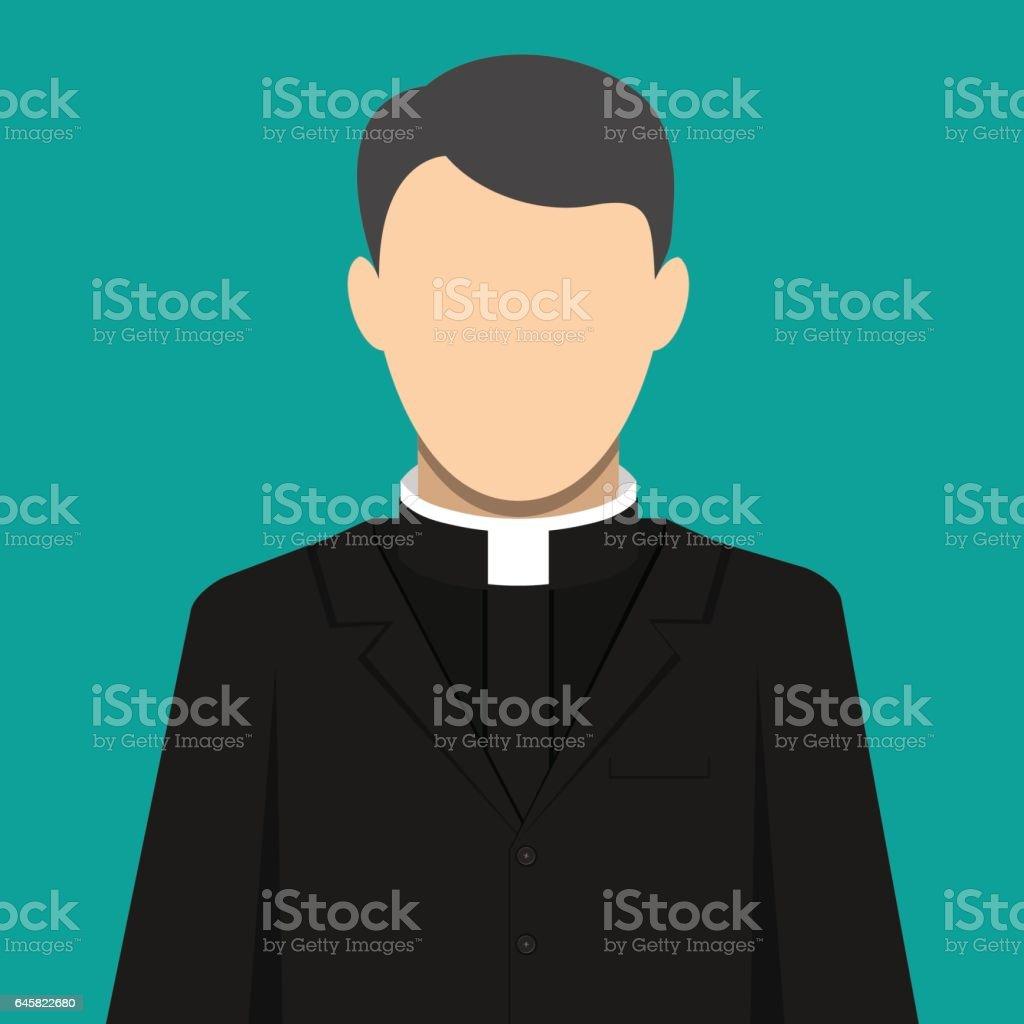 Catholic priest. Pastor servant of god in cassock vector art illustration