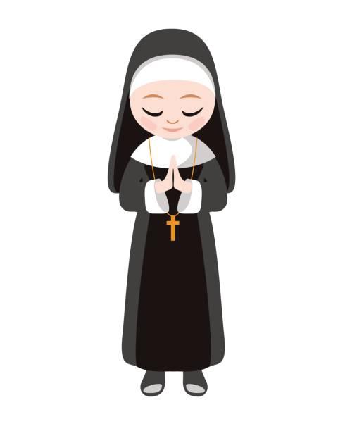 ilustraciones, imágenes clip art, dibujos animados e iconos de stock de católicas de la hermana monja. vector de - hermana