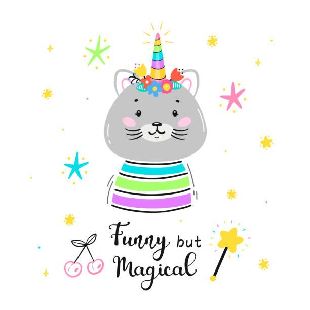カティコーンかキティコーンかフラワーホーンと「おかしいが魔法」引用ベクトルイラストと魔法かわいいユニコーン猫。かわいい子猫tシャツプリント、ベビーシャワーカード、託児ポスタ - 花のボーダー点のイラスト素材/クリップアート素材/マンガ素材/アイコン素材
