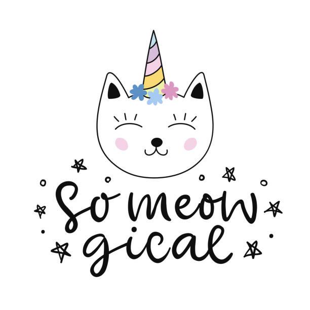 stockillustraties, clipart, cartoons en iconen met caticorn. vector schattig cat unicorn cartoon karakter - miauwen