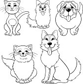 Coloring draws of Black and white Cartoon illustrations with a set of Dog and Cat Pets Animal characters.