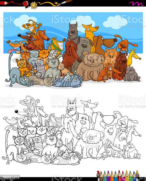 Cats and dogs characters group color book vector id886857014?b=1&k=6&m=886857014&s=612x612&h=jt 0tetaon ecpxcfj d4kp qsmrefrjxe3jiv1h fe=