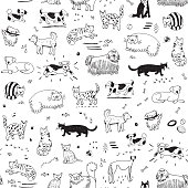 cats and dogs animals vector cartoon pattern