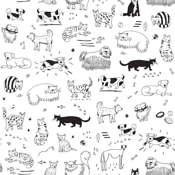 cats and dogs pattern - animals background stock illustrations