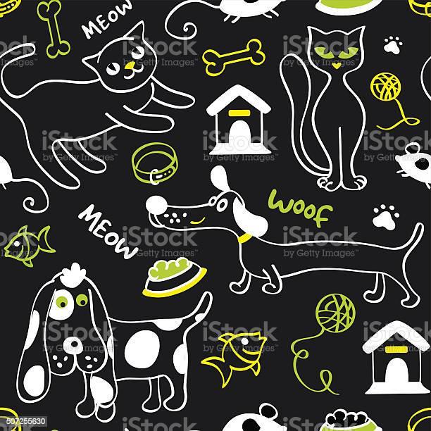 Cats and dogs seamless pattern black yellow white green vector id507255630?b=1&k=6&m=507255630&s=612x612&h=nnylr64pqmfmvk4z80pryt x9uisrnrafcgxemz6z a=