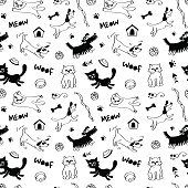 Cats and dogs seamless pattern in black and white colors