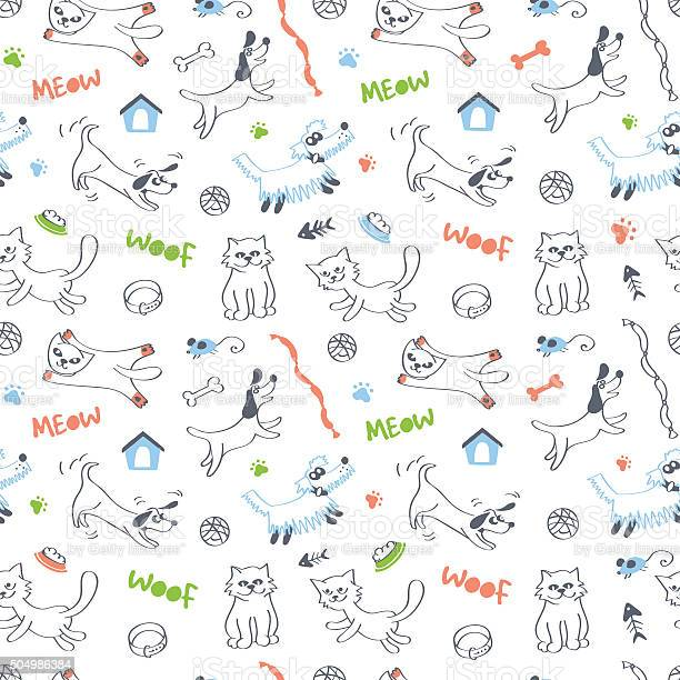 Cats and dogs seamless pattern on white background vector id504986384?b=1&k=6&m=504986384&s=612x612&h=ribjviwcifma3jrvo4mvicge9a4c43ymkvlxodzwhpg=