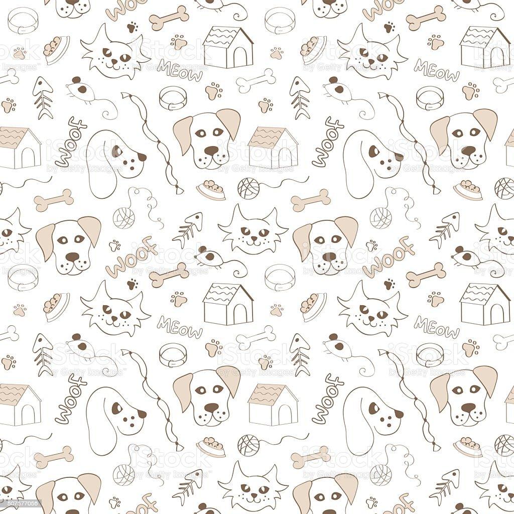 Ilustración de Perros Y Gatos De Patrón Sin Costuras Sobre Fondo ...