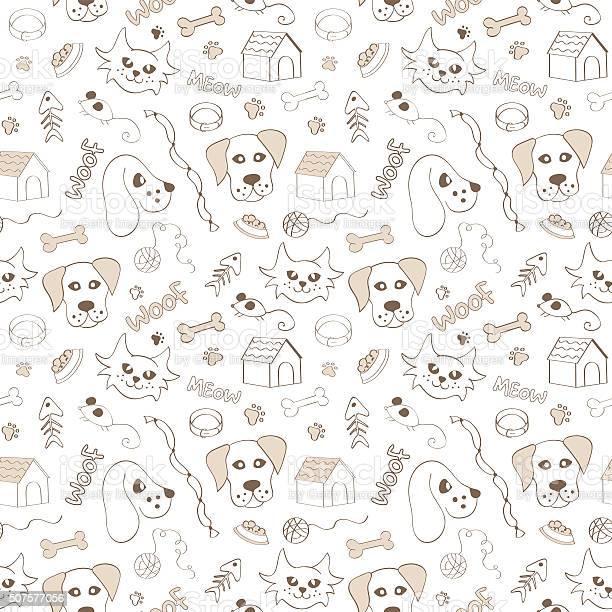 Cats and dogs seamless pattern on white background vector id507577056?b=1&k=6&m=507577056&s=612x612&h= coa3ubfa6egofk0p2nizjtaoicykwx12 izfz09bu0=
