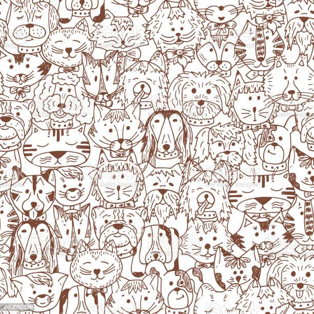 Cats and dogs vector seamless pattern hand drawn doodles pets vector id639662396?b=1&k=6&m=639662396&s=612x612&h=jwrivmbbhdwvkvqkcyhurpattvetxkw1 ebjckzlxcy=