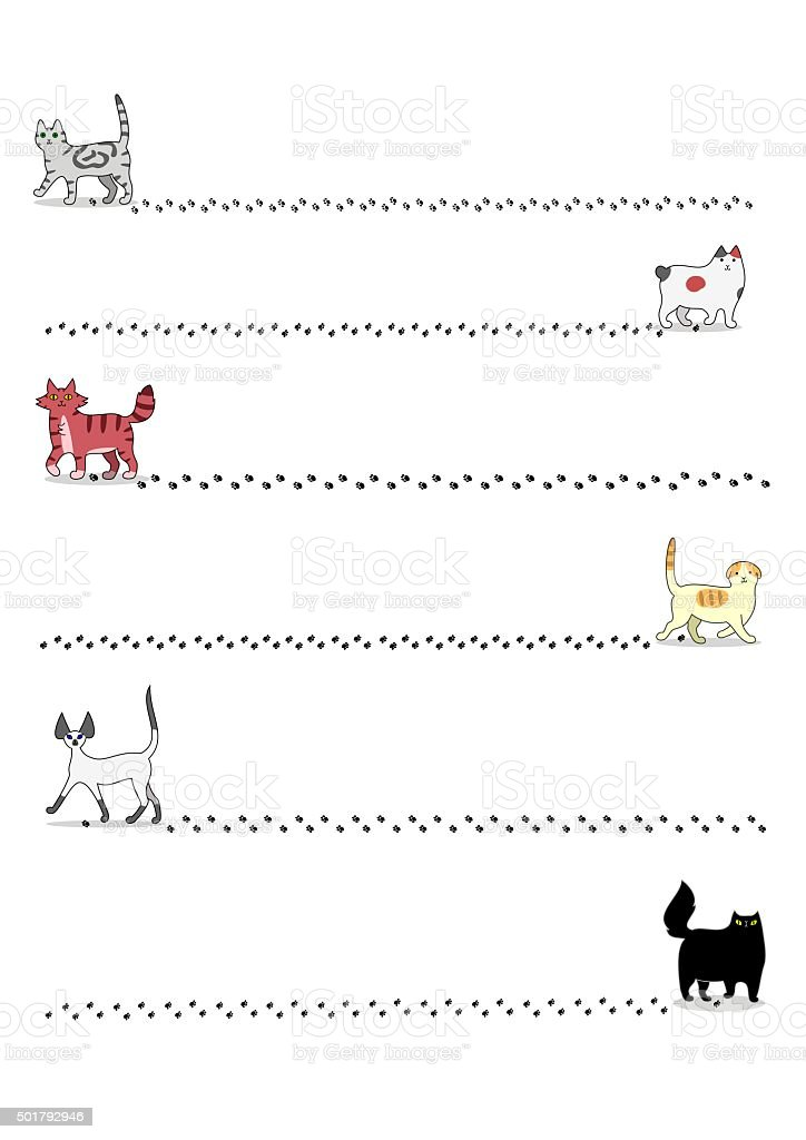 Cats and footprints vector art illustration
