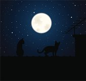 Two cats up on a roof with chimney and antenna are looking at a bright full moon. Image contains one radial illustrator gradient.