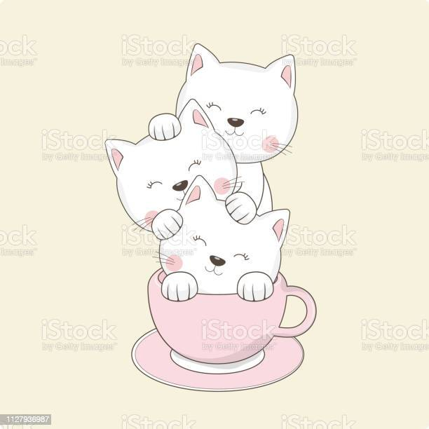 Cats best friends sitting in cup of coffee isolated on white vector id1127936987?b=1&k=6&m=1127936987&s=612x612&h=4ii6ivopsvdwhsk ewf6khbq2ou1alf5tamiu1ezozo=