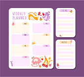 Cats birthday weekly or daily planner with notes and to do list. Personal stationery organizer for daily plans, schedule with flat cartoon pets or kittens on white - vector printable page template