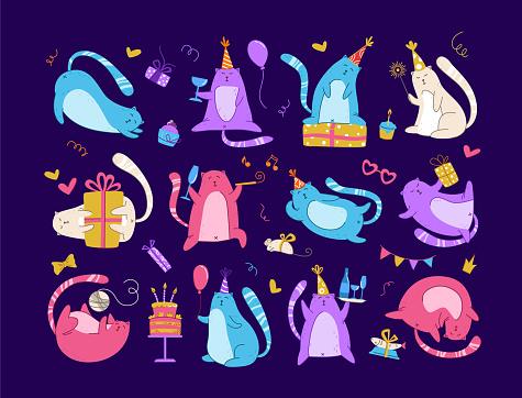 cats birthday party set - vector