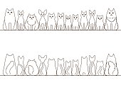 cats border set, front view and rear view, line art