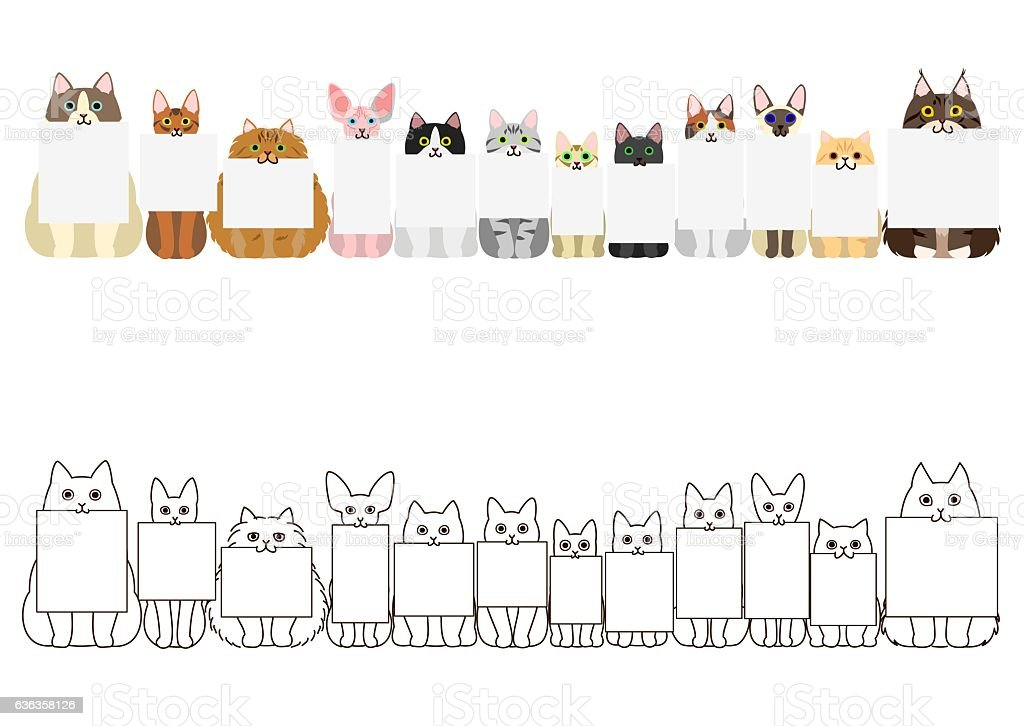 cats border set, with small blank card in each mouth vector art illustration
