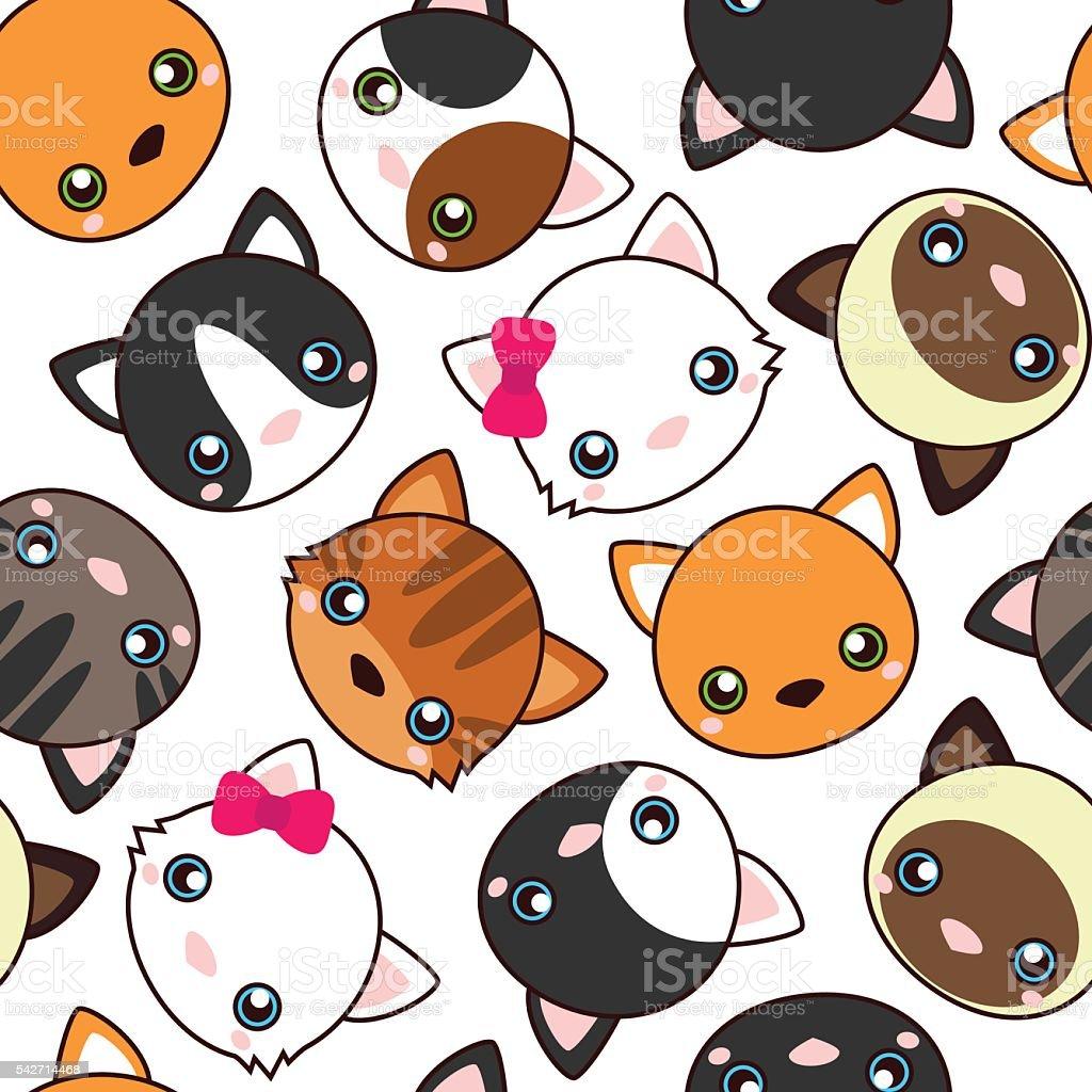 Vetores De Gatos Desenhos Animados Vetor De Padrao Perfeito Papeis