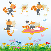 Cartoon cats chasing and hugging and kissing each other and flying on a magic carpet . With flower border.