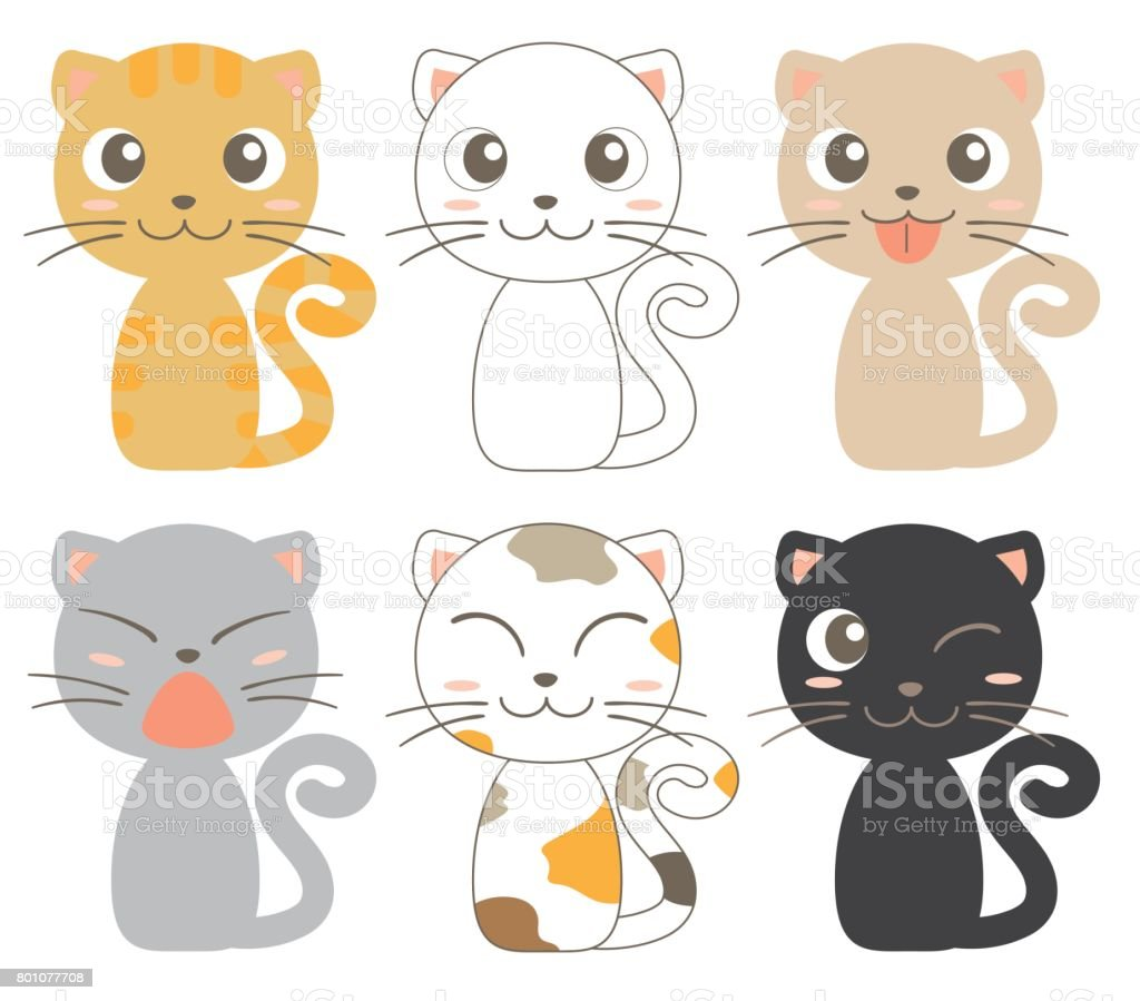 cats character 6set vector art illustration