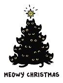 Cute cartoon black cats Christmas tree silhouette with text Meowy Christmas. Funny greeting card vector illustration.