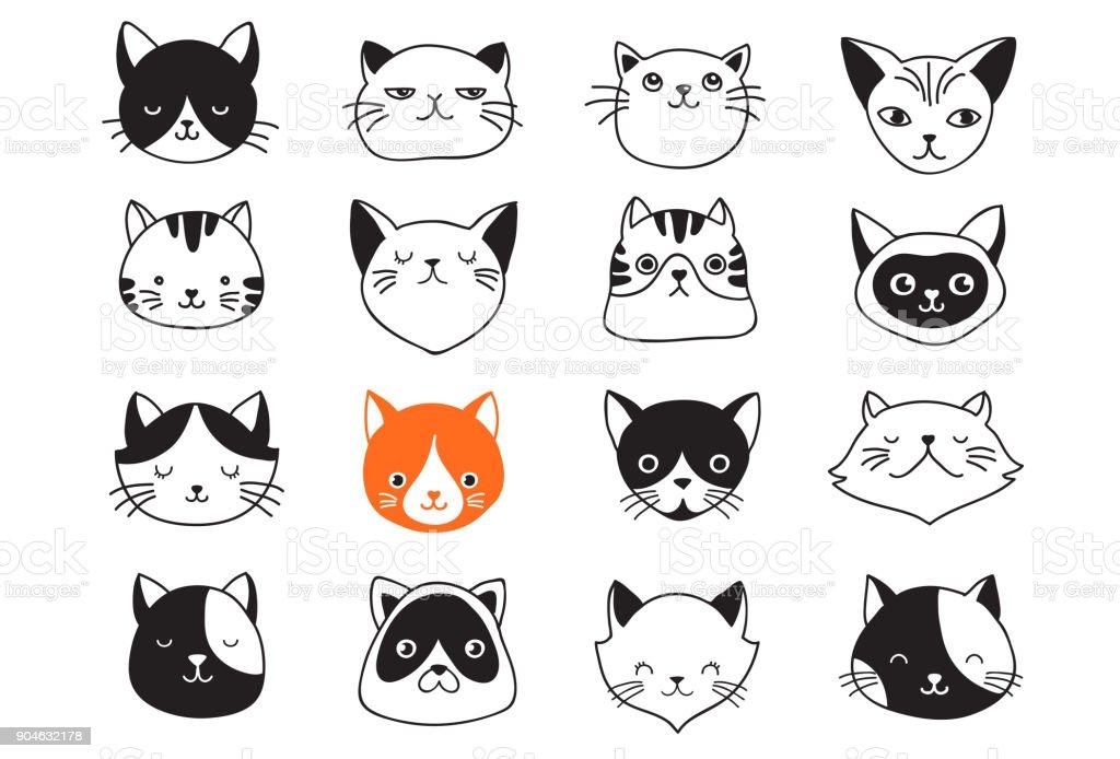 Gatos, colección de iconos de vector, ilustraciones dibujadas a mano - ilustración de arte vectorial