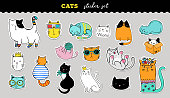 Cats cute and funny sticker collection. Vector hand drawn illustrations