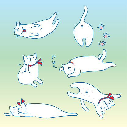 Cat's daily life vector illustration sketch