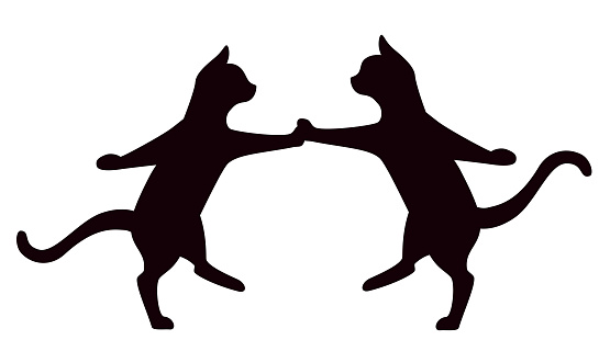 Cats dancing rock and roll isolated on white background
