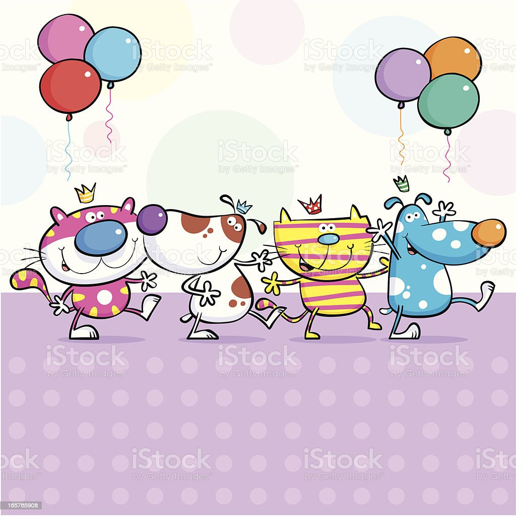 Cats & dogs birthday party vector art illustration