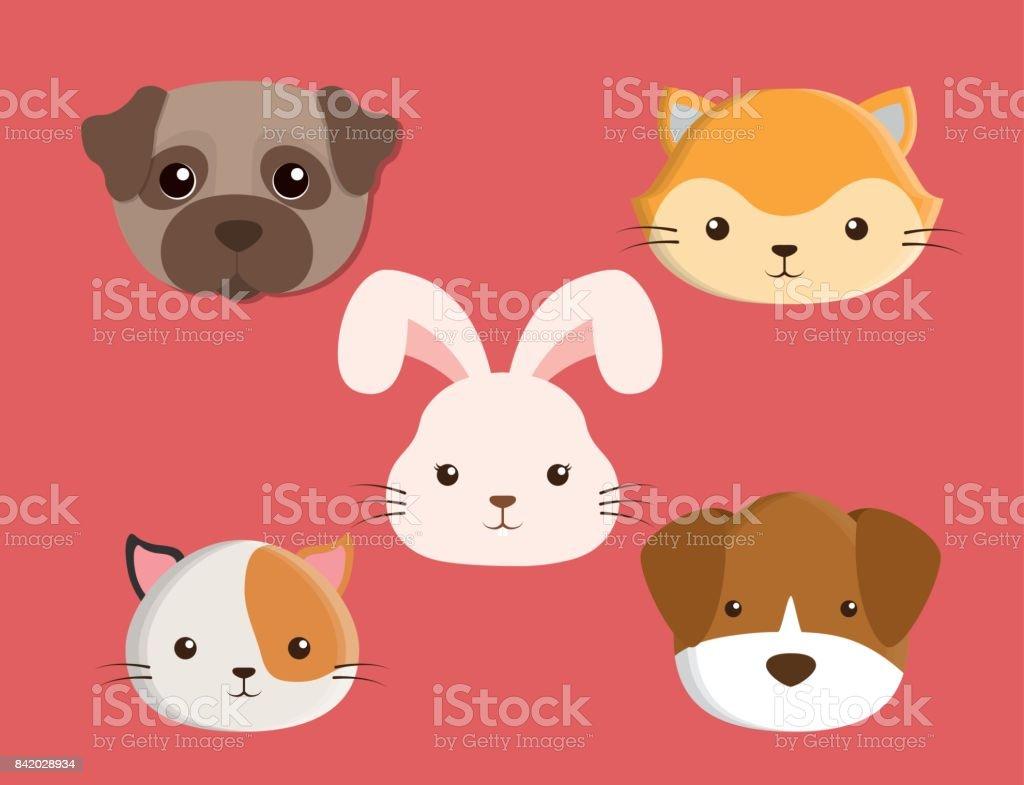 Vetores De Desenho De Animais De Estimacao Gatos Cachorros Coelho