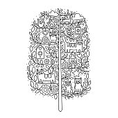 Vector cartoon tree with cute elements. Hand drawn doodle illustration. Cats, owls, bird, flowers, clouds, stars, birdhouses. Coloring page for adult and kids. Outline.