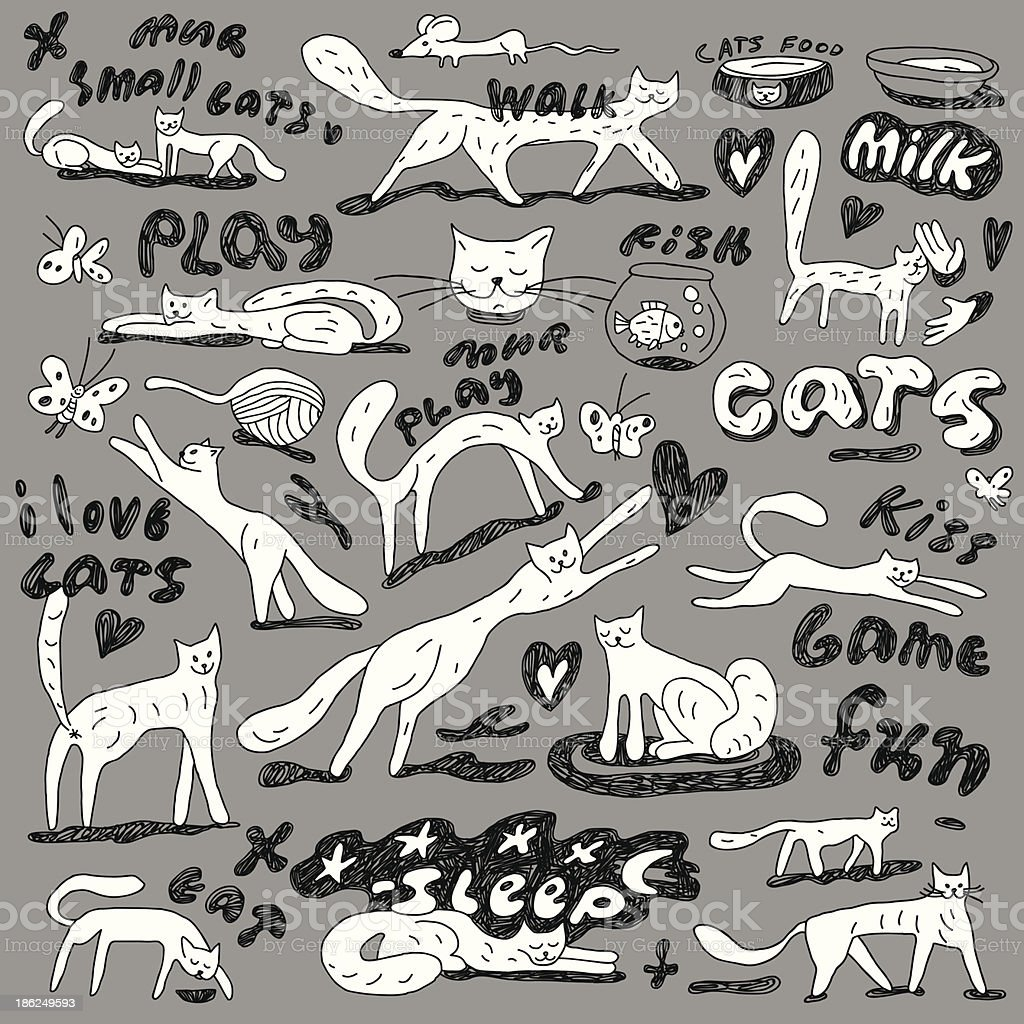 cats - doodles set vector art illustration