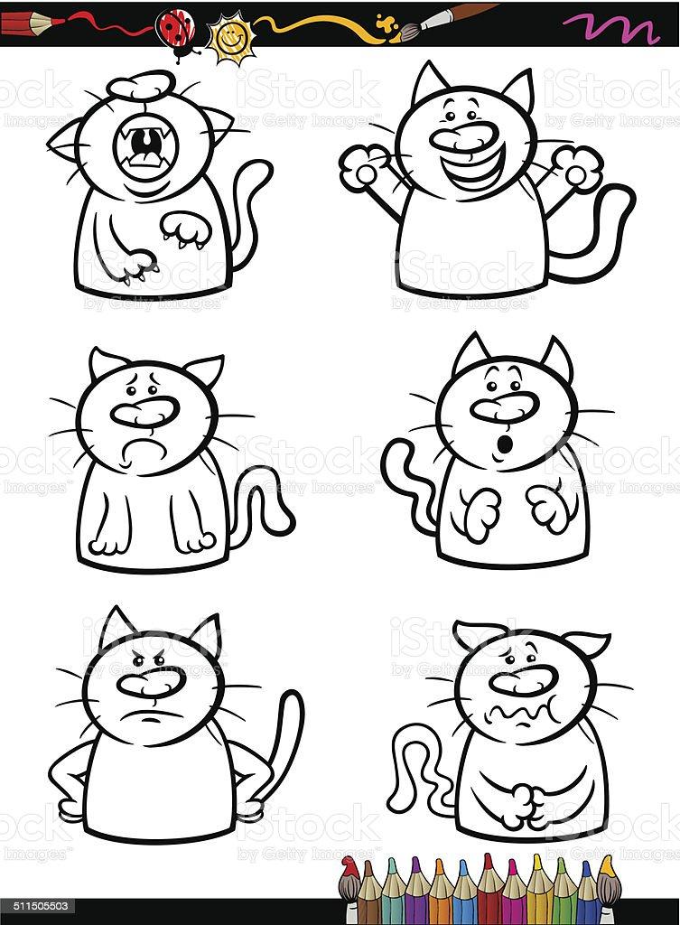 Ilustración de Conjunto De Dibujos Animados Gatos Emociones Libro ...