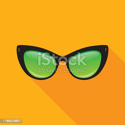 Vector illustration of black cat's eye sunglasses on a gold colored background.