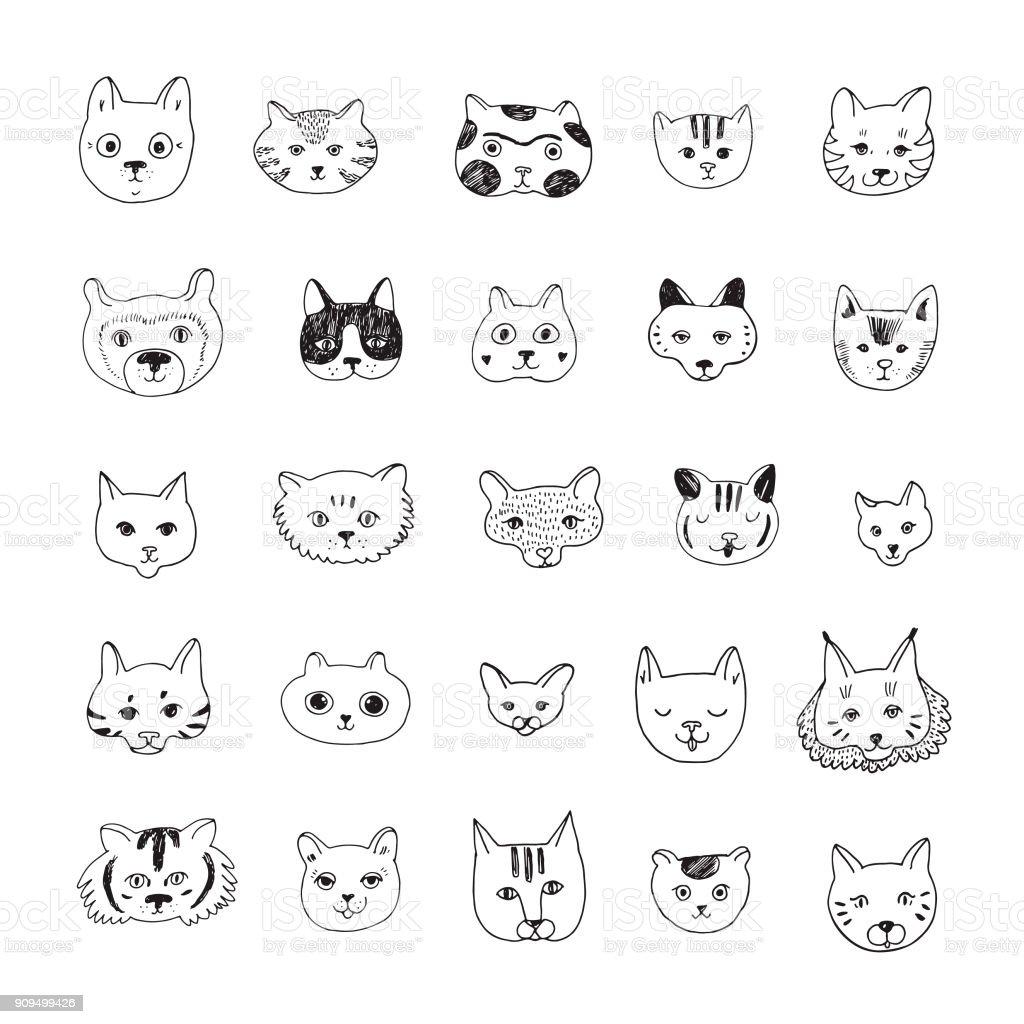 Ilustración De Doodle Conjunto De Ilustraciones De Vectores De