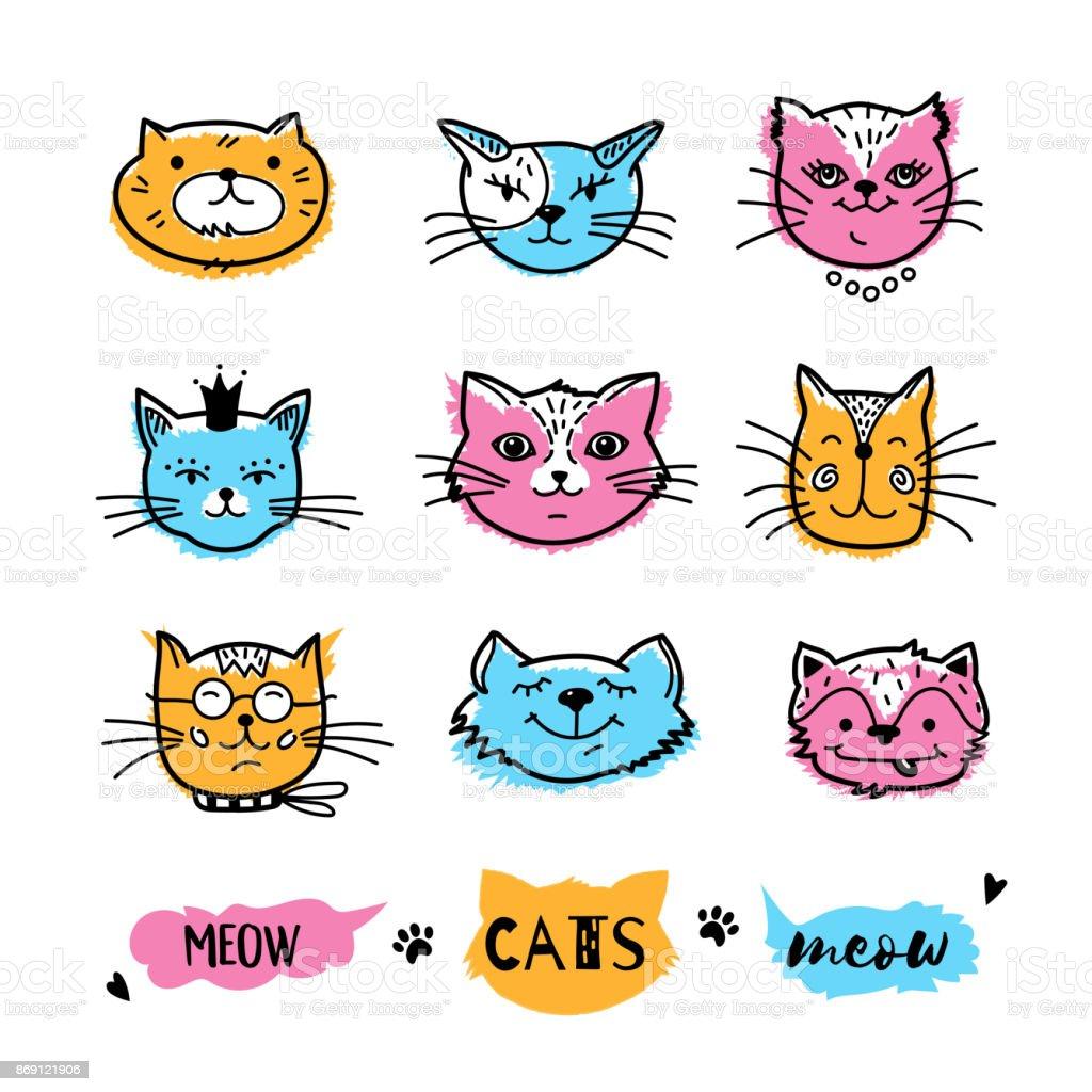 Ilustración De Caras De Gatos Doodle De Gato Colección De Iconos De