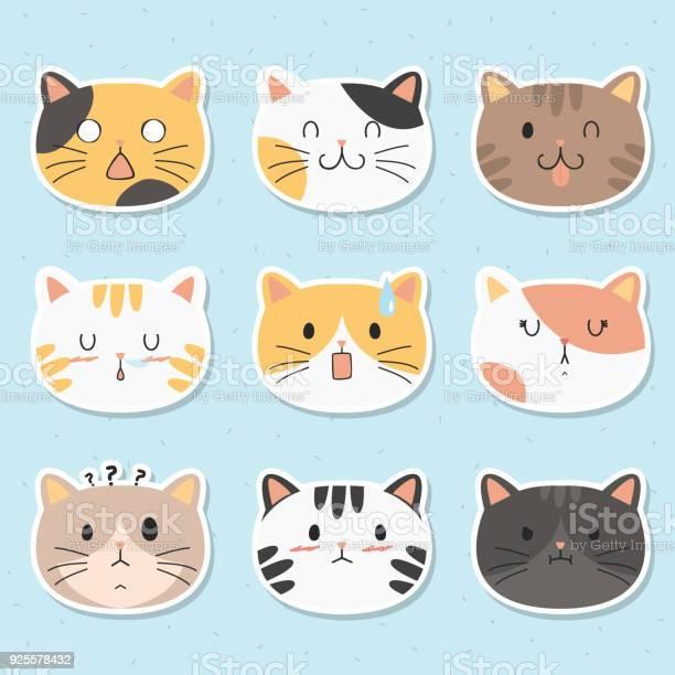 Cats faces sticker vector set vector id925578432?b=1&k=6&m=925578432&s=612x612&h=wwerl aieh8espuvkdvyvwsuza8djcmgs wnsdqluei=
