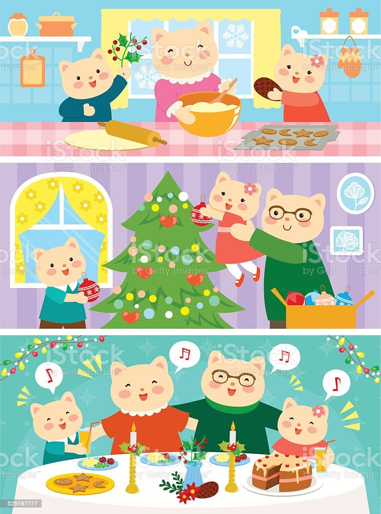 Chats de Noël en famille - Illustration vectorielle