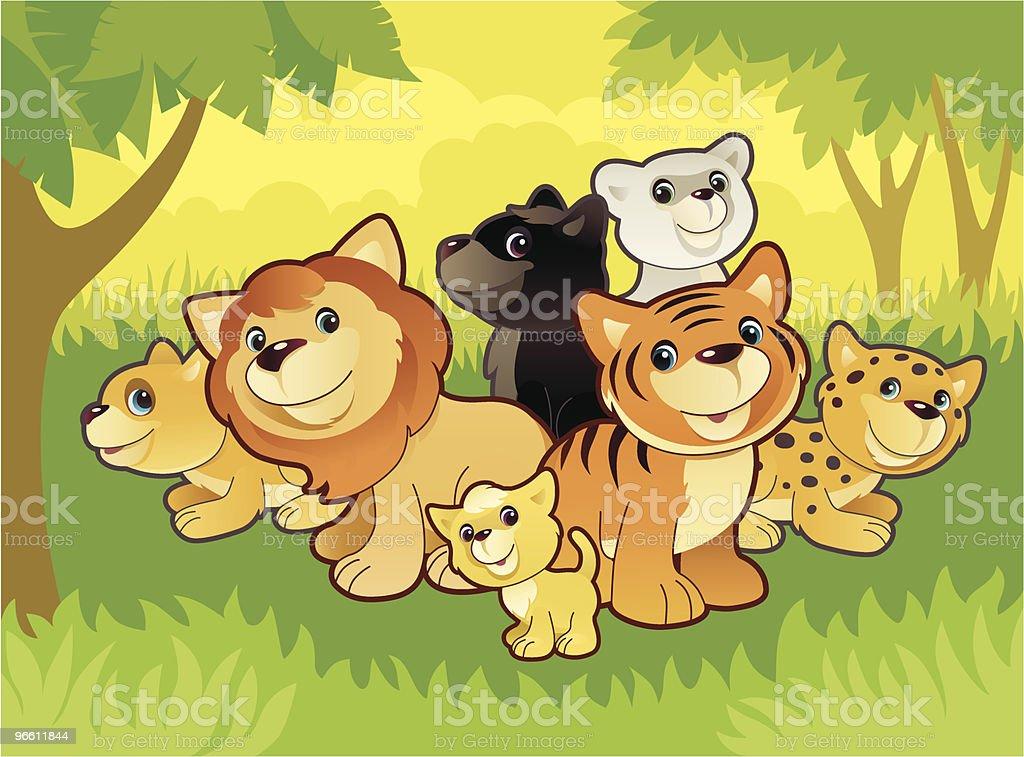 cats family - Royalty-free Animal stock vector