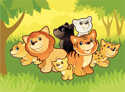 Cats Family Stock Illustration - Download Image Now