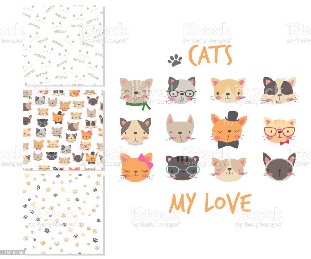 Ilustración de Cabezas De Gatos Dibujos Animados 3 Patrones Sin ...